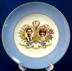 Royal Wedding Plate Charles And Diana Blue Band Pretty 1981 9 Inches