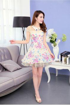 Short Sleeve, Summer, Lace, Chiffon, Flower Print Dress, Collar, YRB2142, YRB Fashion, Rainy Hint, Free Shipping, online Clothing, Womens, K...