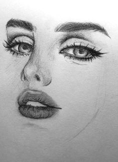 close up of a female face drawing, how to draw a face, full lips and big eyes Girl Drawing Sketches, Art Drawings Sketches Simple, Pencil Art Drawings, Realistic Drawings, Realistic Eye, Girl Sketch, Face Sketch, Portrait Sketches, Awesome Drawings