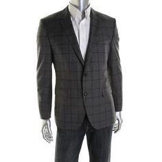 HUGO-BOSS-NEW-Smith-11-Gray-Wool-Window-Pane-Sportcoat-Blazer-42S-BHFO