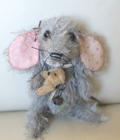 """Tickle the tiny baby mouse, approx 4"""" by A CURIOUS WHIM for Ragtail 'n' Tickle."""