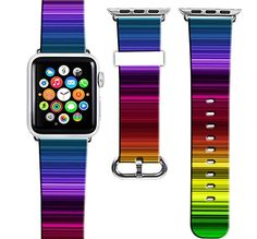 Apple Watch Band Leather 38Apple Watch Strap Replacement Genuine Leather 38Mm Cool Fantastic Beautiful Rainbow Designer Print * Check out the image by visiting the link.