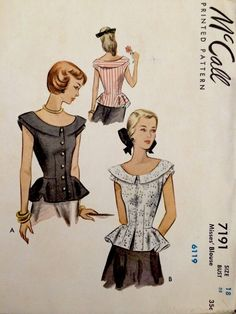 1940's Vintage Summer Peplum Blouses Misses' McCall Sewing Pattern 7191 FF | eBay
