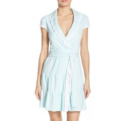 Women's Betsey Johnson Terry Short Robe ($52) ❤ liked on Polyvore featuring intimates, robes, betty blue, terry cloth robe, terry cloth bath robe, short terry cloth robe, bridal robe and terry bath robe