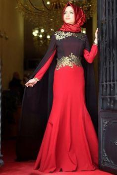 Merve Gündüz Kırmızı Neslişah Abiye Elbise
