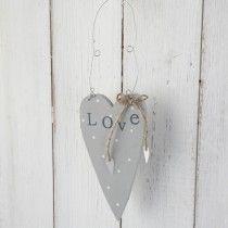 "Wooden Polka Dot ""love"" Hanging Heart-Grey"