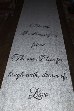 Our Diy Wedding Aisle Runner Ould Be Reused As Wall Décor With Photos Around It