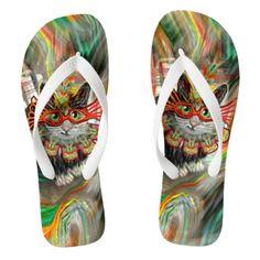 Shop Tropical Carnival Cat Flip Flops created by HorizonOfArt. Flip Flop Images, Flip Flop Art, Flip Flop Sandals, Flip Flops, Cool Pins, Cat Art, Summer Fun, Gifts For Kids, Carnival