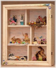 DYI DOLLHOUSE MINIATURES: EASTER IN A SHADOW BOX. En un lugar pequeñito con miniaturas!