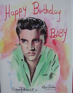 Elvis Presley Birthday Card - This unique Elvis Birthday card is created, using a good quality laser print, from an original painting by Rock 'n' Roll artist Simon Pritchard. The wording reads- 'Happy Birthday Baby'. The card is in full colour on card, A5 in size. Also check out artist Simon Pritchard's website: http://www.artbeat64.com/