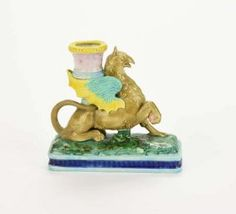 A Very Rare Royal Worcester Majolica 'Griffin' Chamber Stick Modelled as a brown griffin with green and yello. Antique Lighting, Worcester, Auction, Pottery, Earthenware, Antiques, Ceramica, Antiquities, Antique