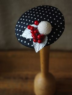 Polka Dots Fascinator by Jazzafine Funky Hats, Red Hats, Turbans, British Hats, Jewish Crafts, Kentucky Derby, Tea Party Hats, Millinery Hats, Cocktail Hat
