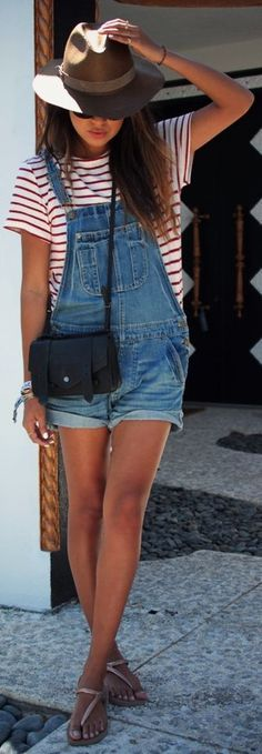 e776349f1f0 Casual outfits - Red stripes top - Brown hat - Denim overalls - Women - Look