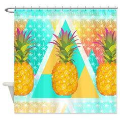 #Tropical #bathroom #Shower Curtain  Pineapples  Ornaart Design by Ornaart