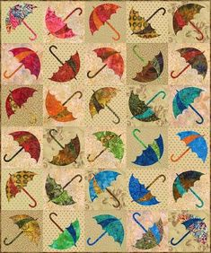 Dancing Umbrella quilt pattern by Edyta Sitar of Laundry Basket Quilts - ( Finished size is 45 X 54 Techniques - Piecing and raw edge applique - Suitable for all skill levels. Umbrella stencil available here: Embroidery Designs, Quilting Designs, Creeper Minecraft, Mini Quilts, Baby Quilts, Motifs D'appliques, Applique Quilt Patterns, Hand Applique, Machine Applique