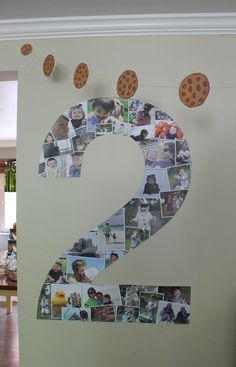 Two photo collage for a 2nd birthday party...over 3.5 feet tall with over 35 photos!!