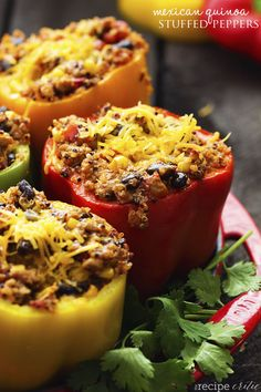 Delicious and healthy mexican turkey stuffed peppers with quinoa. Quinoa provides added protein, fiber and minerals and a delicious new texture! It has been a week or so since I posted my last pos...