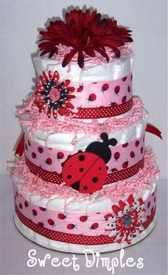 Three Tier Red and Pink Ladybug Diaper Cake-diaper cake, shower centerpiece, baby, baby ladybug, ladybug diaper cake, pampers, baby shower, baby gift, newborn, hospital gift, pregnancy gift, baby girl diaper cake, baby boy diaper cake, diapers, gifts