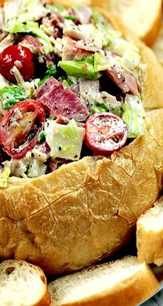 Hoagie Dip - chopped meats, cheeses, veggies and dressing served up in a bread bowl all come together for the ultimate party food!