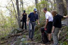 is National Great Outdoors Month, by presidential proclamation! (Pictured: President Barack Obama and First Lady Michelle Obama with hikers near the Blue Ridge Parkway outside of Asheville, NC Obama Photos, Michelle And Barack Obama, North Carolina Mountains, First Day Of Summer, Blue Ridge Parkway, Our President, Great Memories, Hiking Trails, Presidents