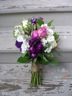 Rustic wedding flowers purple and pink by Flour and Flower Designs