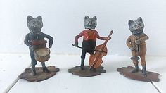 Vintage Lead Figure Heyde ?? Cat Orchestra Cello Drum Trumpet Nodder Rare Marked in Toys & Games, Toy Soldiers, Other Toy Soldiers | eBay!