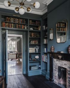 The devil is in the detail. In this case, metro tiles at the back of a cupboard adds an extra dimension to the unit. Just lovely! Dream Home Design, Home Office Design, My Dream Home, House Design, Home Library Rooms, Home Libraries, Library Study Room, Inchyra Blue, Interior And Exterior