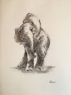 'Little Elephant - ink wash painting' Greeting Card by Rebecca Rees Elephant Sketch, Elephant Love, Elephant Art, Little Elephant Tattoos, Elephant Drawings, Funny Elephant, Animal Sketches, Animal Drawings, Art Drawings