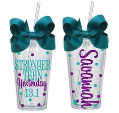 Personalized Stronger Than Yesterday Marathon Tumbler by CrazyGirlDesigns on Etsy https://www.etsy.com/listing/234860411/personalized-stronger-than-yesterday