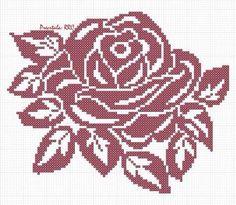 Cross Stitch Rose, Cross Stitch Flowers, Cross Stitch Charts, Cross Stitch Designs, Cross Stitch Patterns, Filet Crochet Charts, Crochet Diagram, Bead Loom Patterns, Knitting Patterns