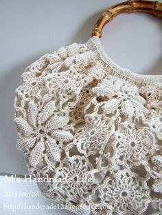 irish crochet purse Crochet Tote, Crochet Handbags, Crochet Purses, Crochet Stitches, Crochet Patterns, Freeform Crochet, Irish Crochet, Diy Handbag, Art Bag