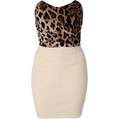 Club L Leopard Bandeau Dress ($38) ❤ liked on Polyvore featuring dresses, vestidos, robes, short dresses, cream, party dresses, draped cocktail dress, short cream dress, pink cocktail dress and leopard dresses