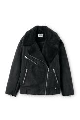 <p>The Nora Jacket keeps you warm with its fine imitation fur lining. This boxy biker- style jacket <br />has a collar with big lapels, a diagonal zipper in shiny metallic at the front and three front pockets with zippers.<br /><br />-The model is 178 cm tall and wears size small, that measures 127,50 cm in chest circumference, 65,50 cm in length and53,50 cm in sleeve length.<br /></p>