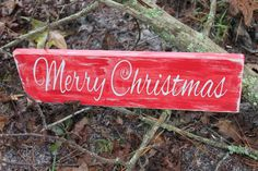 Christmas Wood Sign - Merry Christmas Wood Sign, Christmas Red & White Sign, Distressed Red Christmas Sign, Rustic Christmas Wood Sign by RusticRedbird on Etsy https://www.etsy.com/listing/255618894/christmas-wood-sign-merry-christmas-wood