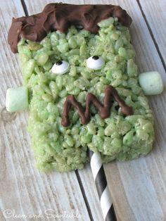 Frankenstein Rice Krispie Pops {Free Printable}