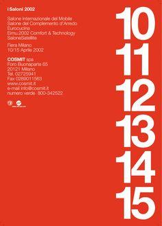 Lella & Massimo Vignelli – Massimo Vignelli (b. 1931 Milano) – Lella Vignelli (née Valle b. 1936 Udine)  | Poster for Salone Internazionale del Mobile | Cosmit | 2002