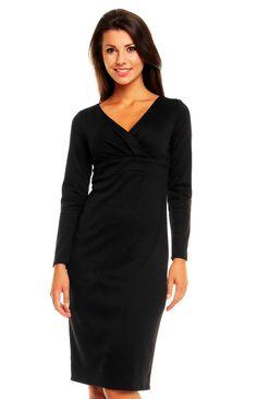 Charmante robe fourreau manches longues décolleté cache-coeur Robe Noire  Manches Longues, Robes Noires bbe77003c8be