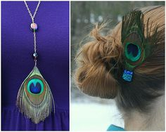 DIY Peacock Feather Necklace & Hair Clip