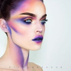 GREAT example of the highlights and lips eyes but not the iris color obz Fantasy Makeup Color Eyes Great highlights iris Lips obz Drag Makeup, Fx Makeup, Contour Makeup, Beauty Makeup, Color Contour, Fashion Editorial Makeup, High Fashion Makeup, Make Up Looks, Alien Make-up