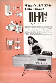 Vintage Record Player Turntable Advertising, Popular Mechanics 1954