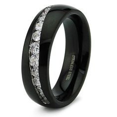 black mens wedding bands   Mens Black Fancy Steel CZ Wedding Band Ring-----Uh can I get it as my band instead? I like the crack.