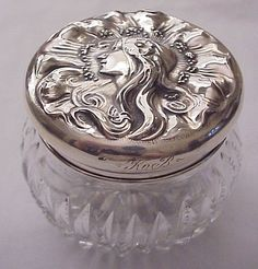 "Unger Bros ""Dawn"" Sterling & Cut Glass Dresser jar - Circa 1905"