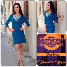 🍁Royal Blue Dress/Host Pick/Last One This jersey knit dress features flattering ruched detail. V neckline, 3/4 sleeves. 65% Rayon, 35% Spandex ❌Shoe pic used only to style dress❌( This closet does not trade or use PayPal ) True Light Dresses Midi