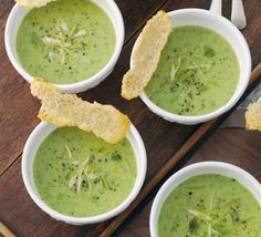 Pea, mint & spring onion soup with Parmesan biscuits. The Parmesan 'tuiles' make this soup stylish enough for entertaining - but they take just a few minutes to make! Bbc Good Food Recipes, Soup Recipes, Cooking Recipes, Healthy Recipes, Recipes Dinner, Spring Onion Soup, Spring Soups, Spring Food, Pea And Mint Soup