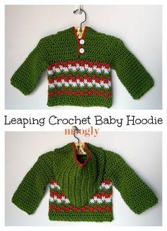 Leaping Crochet Baby Hoodie - C