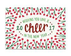 Nieuwe jaar kaart juichen in de 2017 van HennelPaperCo op Etsy