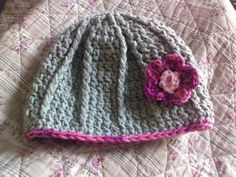 green and pick flower hat by MyLittleCutiesHats on Etsy, $12.50