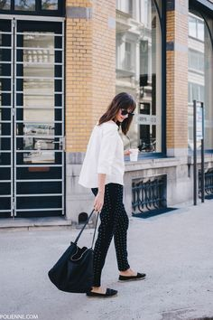 POLIENNE | wearing a H&M off-shoulder top, VILA trousers, BERSHKA espadrilles & KOMONO sunglasses