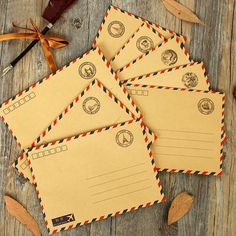 Wholesale 20Pcs/Lot Vintage Kraft Paper Postmarks Design Airmail Envelope DIY Gift Envelope Multifunction H0129 #Affiliate