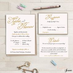 Blush and Gold Wedding invitation set - printable wedding Invitation, RSVP and info template Edit, print and trim. Sophie All colours can be